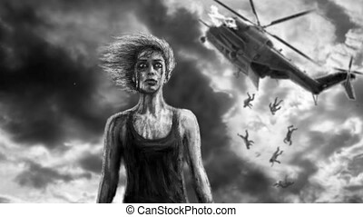 Woman soldier and falling helicopter behind. Animation in...