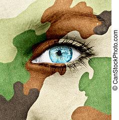Woman soldier concept