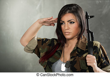 Woman Soldier Saluting