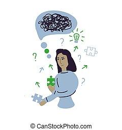 Woman solving problem