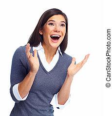 woman., spänd, affär, lycklig