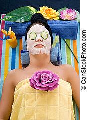 Woman, spa center