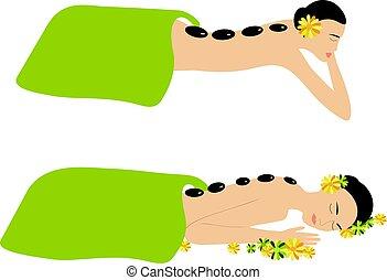 Woman Spa Massage Stone