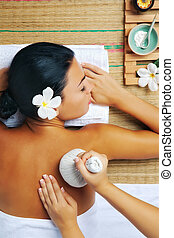 woman spa - portrait of young beautiful woman in spa...
