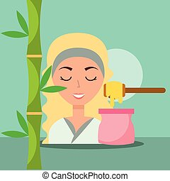 woman spa wellness - beautiful woman with depilatory wax...