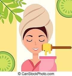 woman spa wellness - woman with towel on head depilatory wax...
