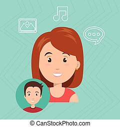 woman speak bubble music vector illustration eps 10