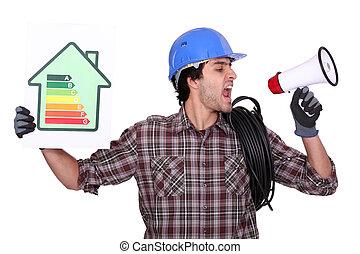 Woman speaking about energy efficiency