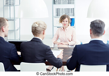 Woman speaking about her skills