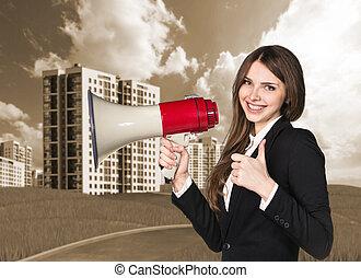 Woman speaking in megaphon
