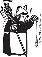 woodcut style image of an old woman with a spindle spinning thread.