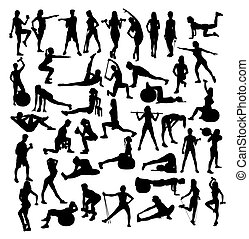 Woman Sport, fitness and Gym Activity Silhouettes