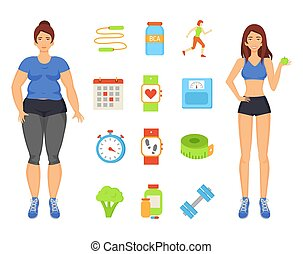Woman Sportive and Fat Lady Vector Illustration - Woman...