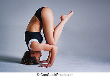 Woman sports stretching