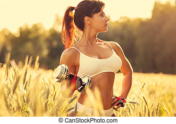 Woman sports training