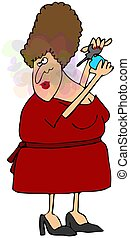Woman Spraying Perfume - This illustration depicts a woman...