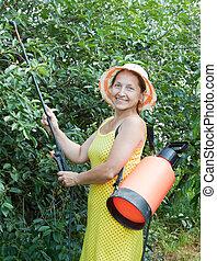 woman spraying tree plant