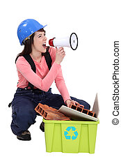 Woman spreading the message about recycling
