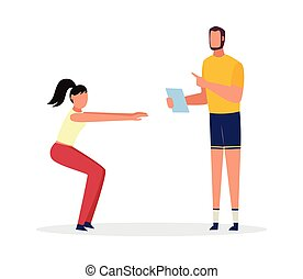 Woman squats under supervision of personal trainer vector illustration isolated.