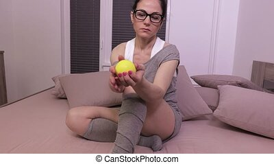 Woman squeezing stress ball