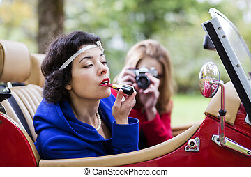 Woman stains the lips other take photo