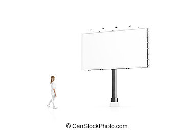 Woman stand beside blank white banner mock up city billboard