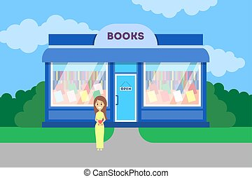 Woman standing at the book store building