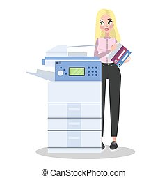 Woman standing at the printer and holding pile