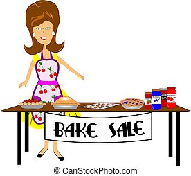 woman standing in front of her bake sale table with her items on display