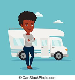 Woman standing in front of motor home. - Aafrican-american...
