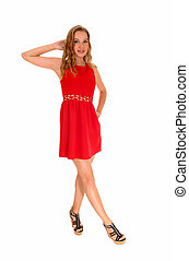 Woman standing in red dress.