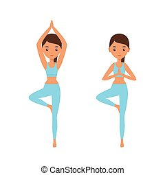 Woman standing in yoga pose Tree. Vector illustration.