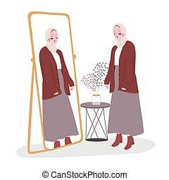 Woman standing look at her self in the mirror modern flat cartoon style vector illustration.