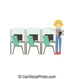 Woman Standing Next To Set Of Similar Cubicles, Coworking In Informal Atmosphere In Modern Design Office Infographic Illustration