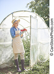 Woman standing next to the greenhouse with tomatoes