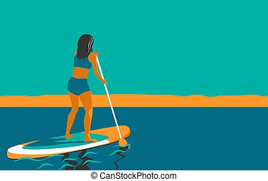 Woman standing on Board with a Paddle. Standup paddleboarding SUP. Sports Girl at sea, ocean. Stand up paddle surfing. Summer Activity on Water. Beach activities. Vector illustration in flat
