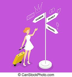Woman standing on the crossroads and thinking