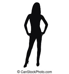 Woman standing, vector silhouette