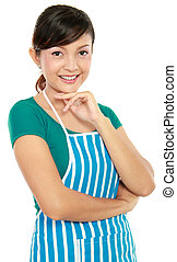 woman standing with apron