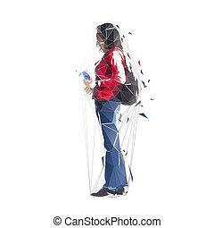 Woman standing with bag and holding mobile phone, isolated low poly vector illustration. Side view. Abstract geometric tourist