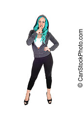 Woman standing with blue hair.