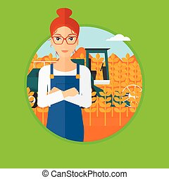 Woman standing with combine on background. - A hipster man...