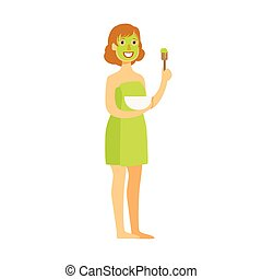 Woman standing with green face mask applied to her face. Colorful cartoon character isolated on a white background