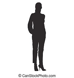 Woman standing with hands in pockets dressed in trousers and shirt. Isolated vector silhouette