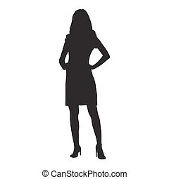 Woman standing with hands on her hips. Confident woman