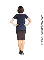 woman standing with her back on white background