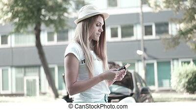 Woman Standing With Her Broken Car