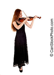 Woman standing with violin.