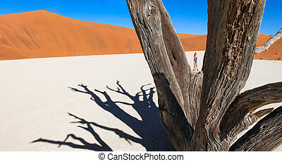 Woman stands in desert between branches of dead tree.