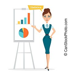 Woman stands near flipchart with chart, diagram. Statistics. Business character.